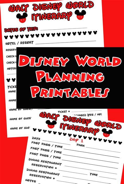 disney agenda itinerary  printable disney walt