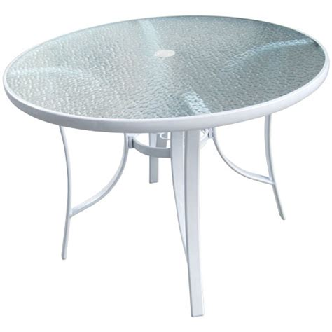 white round outdoor table 40 quot round white glass top patio table