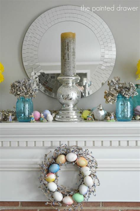 daffodils  spring mantel decorating ideas