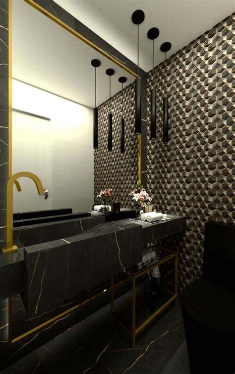 preto  dourado em todo  banheiro cuba esculpida