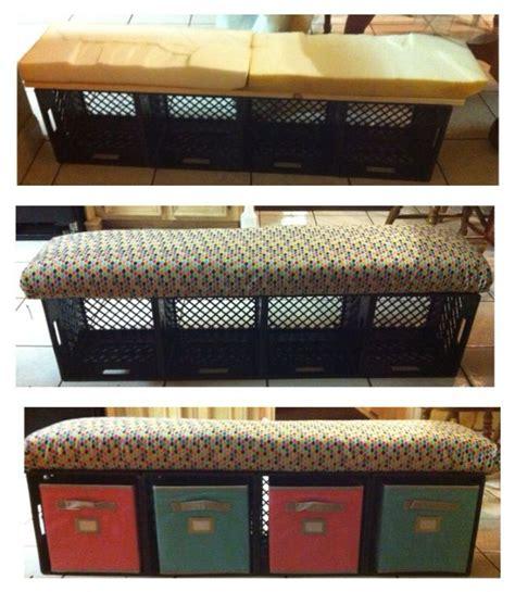 crate bench  storage bins  students journals