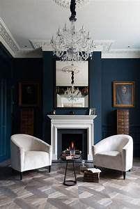 Dark blue bookcase living room victorian with modern table