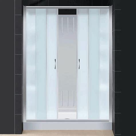 dreamline visions center opening sliding glass door tray