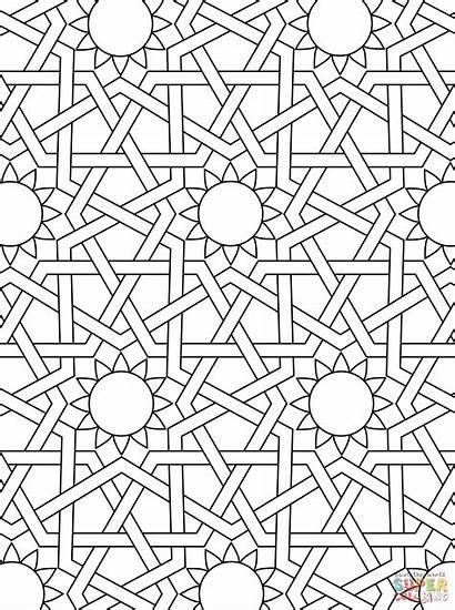 Coloring Pages Mosaic Islamic Ornament Patterns Geometric
