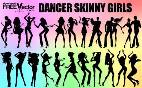 bailando siluetas de chicas flacas descargar vectores gratis