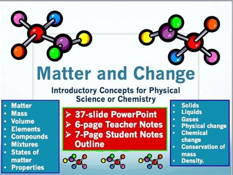 Matter And Change Powerpoint With Notes For Teacher And Student  Physical Science, Chemistry