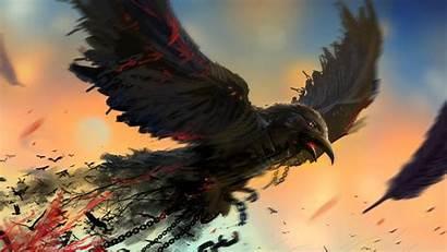 Crow Blood Artwork Birds Chains Wallpapers Desktop