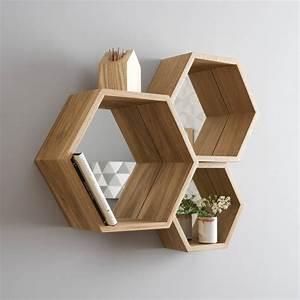 hexagon mirror shelves by james design
