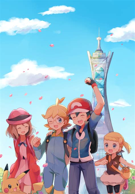 the x and y anime characters ash serena clemont and