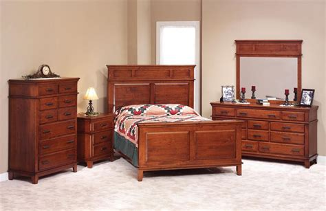 Furniture Cherry Wood Bedroom Set Cherry Wood Bedroom Set Shaker Style Amish Made 42211