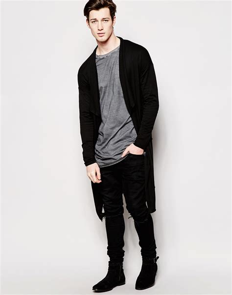 mens drape cardigan lyst asos drape front knitted cardigan in black for