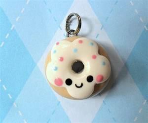 Kawaii Donut Charm Cute Polymer Clay Charm | Polymer clay ...