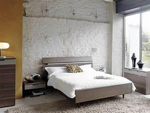 Lit 2 Places Moderne : lit en bois 2 places contemporain photo 6 10 un lit en bois 2 places pour adulte avec un look ~ Teatrodelosmanantiales.com Idées de Décoration