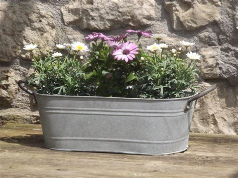 cm aged zinc trough planter