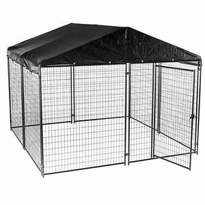 Lucky dog 6 ft h x 10 ft w x 10 ft l modular kennel for Dog kennel cages home depot