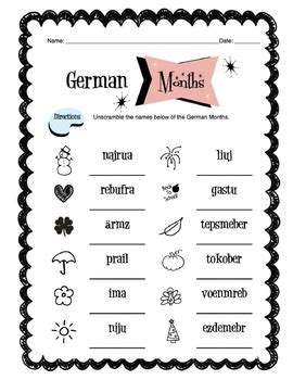 german months of the year worksheet packet by side