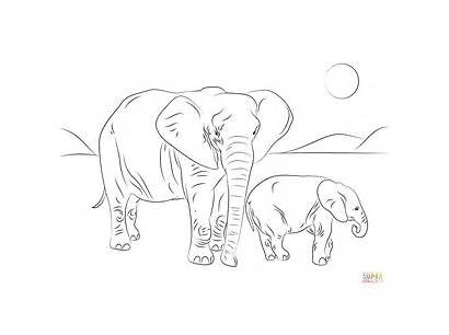 Elephant Coloring African Pages Drawing Ausmalbild Printable