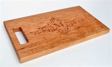 Cutting Board Personalized Cutting Board Laser Engraved Cherry