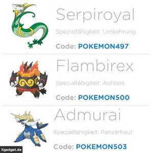 pokemon oras einall starter pokemon codes