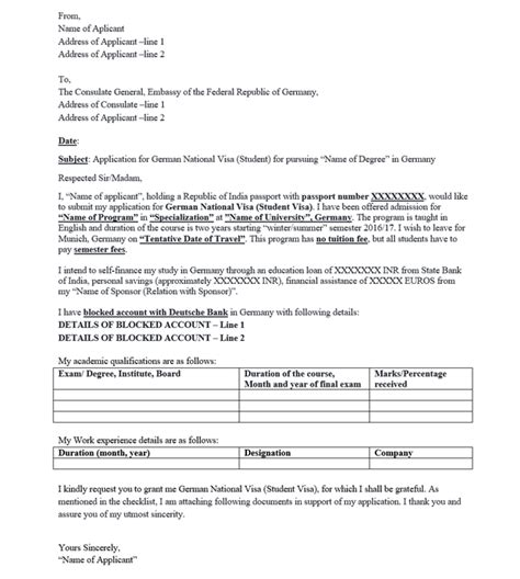 visa application cover letter germany  perfect cover