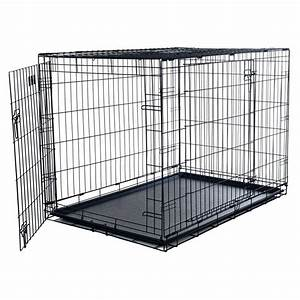 Petmaker 42 in x 28 in foldable dog crate cage with 2 for Dog kennel cages home depot