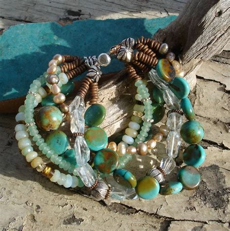 Gemstone Bracelet Turquoise Tiger Eye Aquamarine