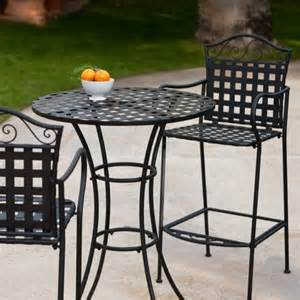 woven wrought iron bar height bistro set contemporary patio furniture and outdoor