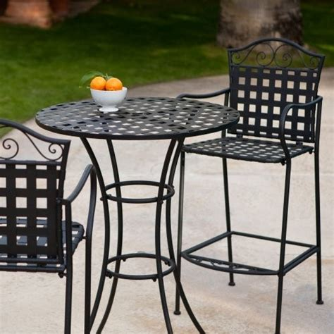 woven wrought iron bar height bistro set