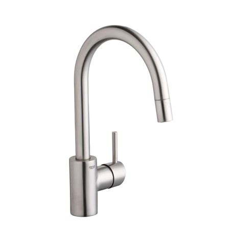 kitchen faucets grohe shop grohe concetto super steel 1 handle deck mount pull down kitchen faucet at lowes com