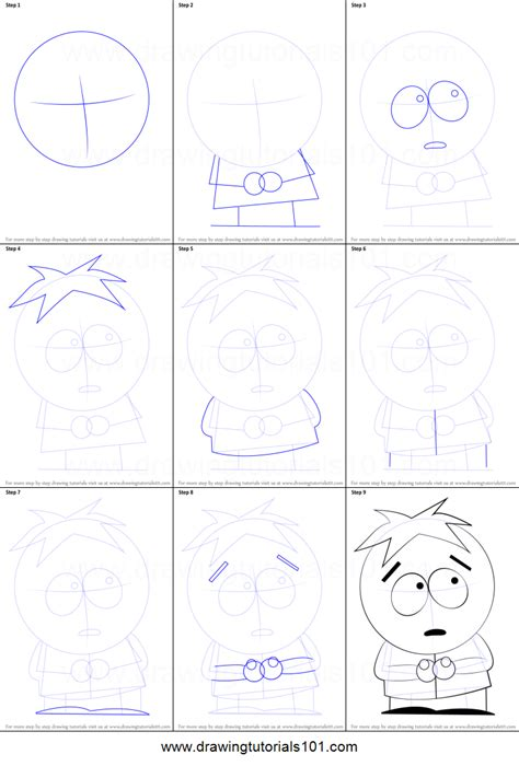 draw butters  south park printable step  step