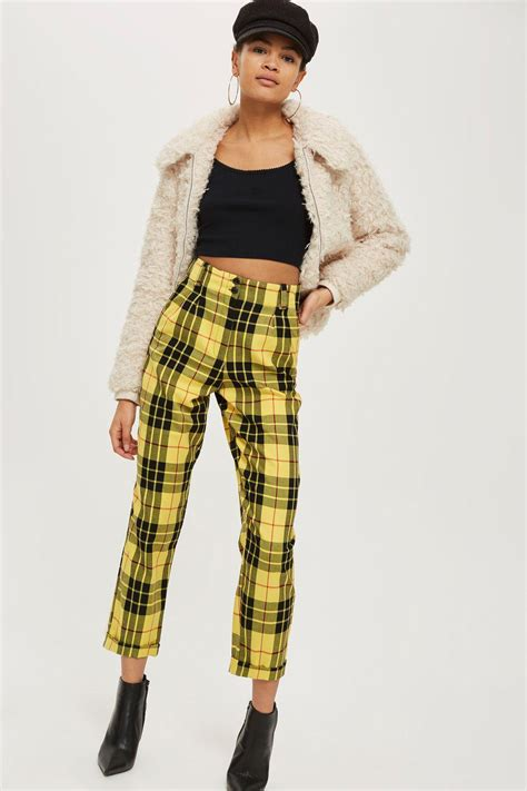 lyst topshop tartan checked trousers  yellow