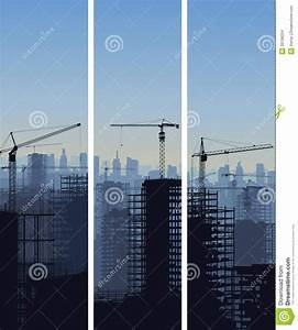 Vertical Banner Of Construction Site With Cranes And ...