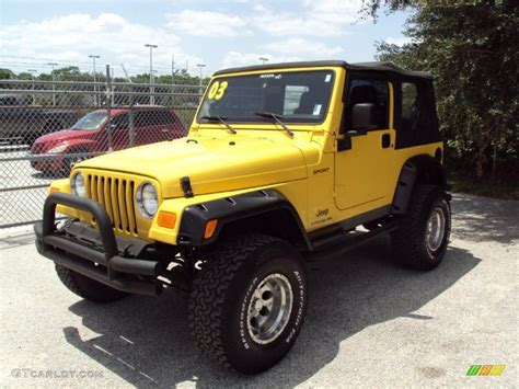 yellow jeep interior 2003 solar yellow jeep wrangler sport 4x4 33329397