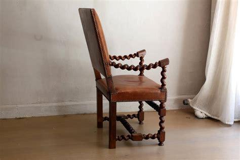 unique walnut barley twist leather armchair 19th