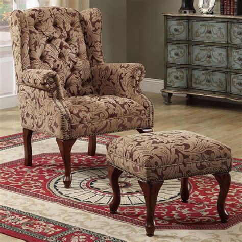 Tufted Chair And Ottoman - new 2 pc cozy fabric button tufted seat wing back arms