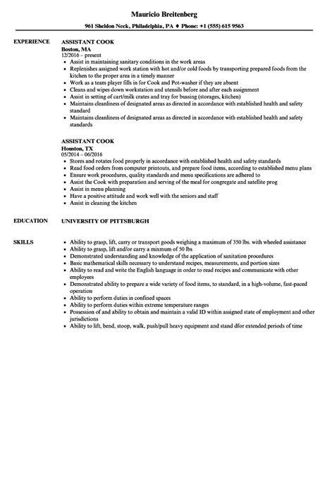 assistant cook resume samples velvet jobs