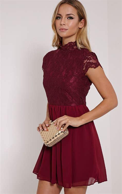 ella burgundy high neck lace skater dress dresses