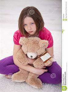 Sad Young Girl Sitting With Teddy Bear Stock Photography ...