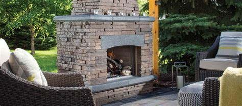 bordeaux series stacked stone outdoor fireplace kitchen
