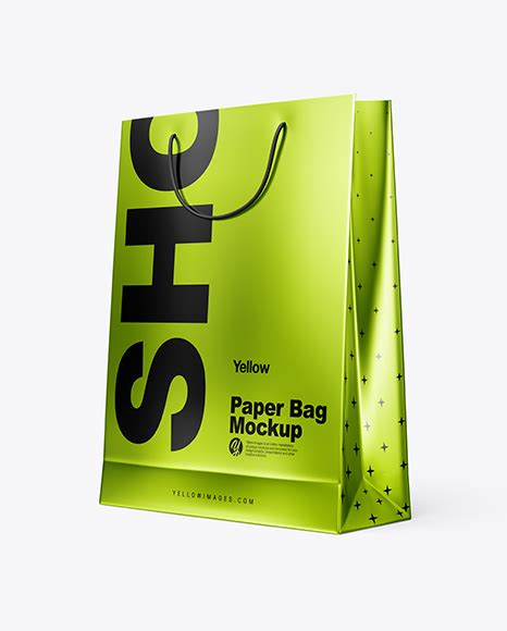 Psd file consists of smart objects. Metallic Paper Shopping Bag PSD Mockup Half Side View ...