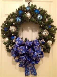 silver and blue christmas wreath by enywear on etsy