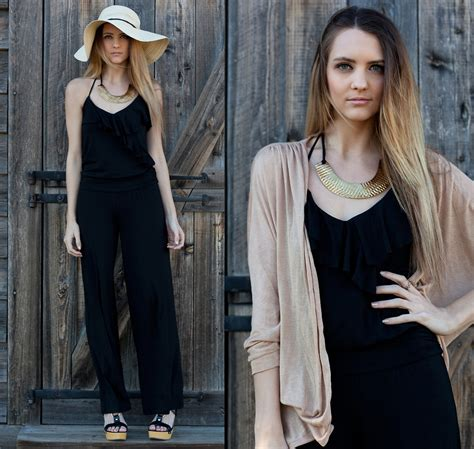 Madeline Becker - Tart Black Jumpsuit Tart Collections Soft Cardigan Thrift Find Gold Collar ...