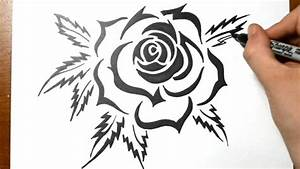 How to Draw a Tribal Rose Tattoo Design - YouTube