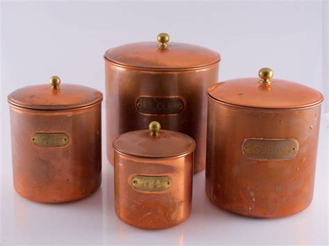 Canisters Flour Sugar by Complete Copper Canister Set Four Kitchen Canisters Flour