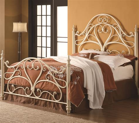 iron beds and headboards ornate metal headboard footboard bed with egg shell finish