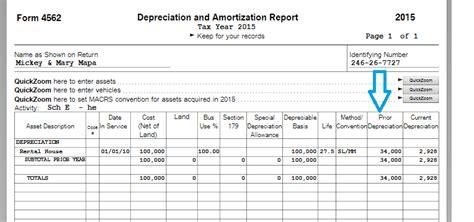 depreciation schedule    tax return