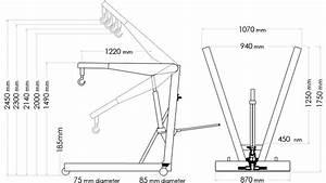 2 Ton Professional Folding Hydraulic Engine Crane  Hoist  Lift