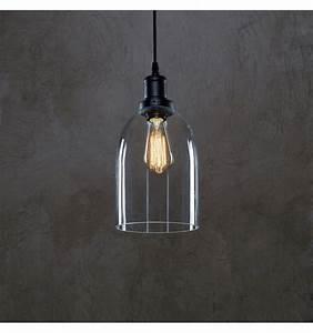 Suspension Luminaire En Verre Transparent : lampe suspendue industrielle cloche en verre gloria ~ Teatrodelosmanantiales.com Idées de Décoration