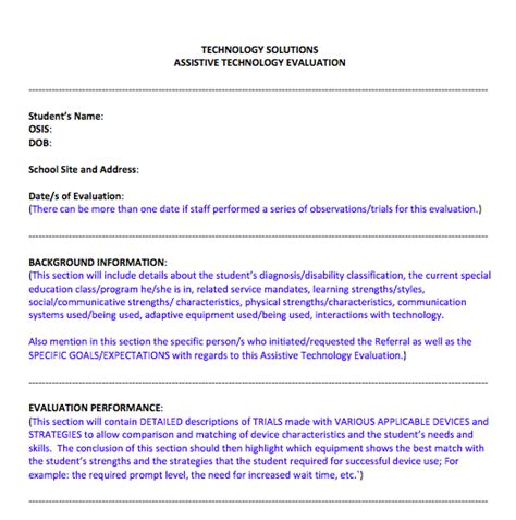 Section 37 Report Template by D75 Assistive Technology Report Template Assistive