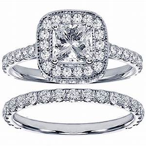 14k white gold 2ct tdw princess diamond bridal ring set With diamond set wedding rings